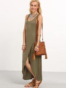 Olive Green Wrap Racerback Tank Dress