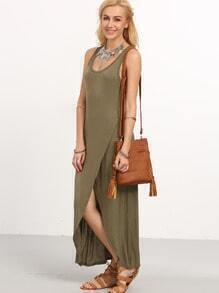 Olive Green Wrap Racerback Tank Dress