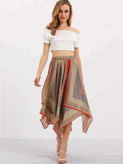Multicolor Vintage Asymmetric Hem Skirt