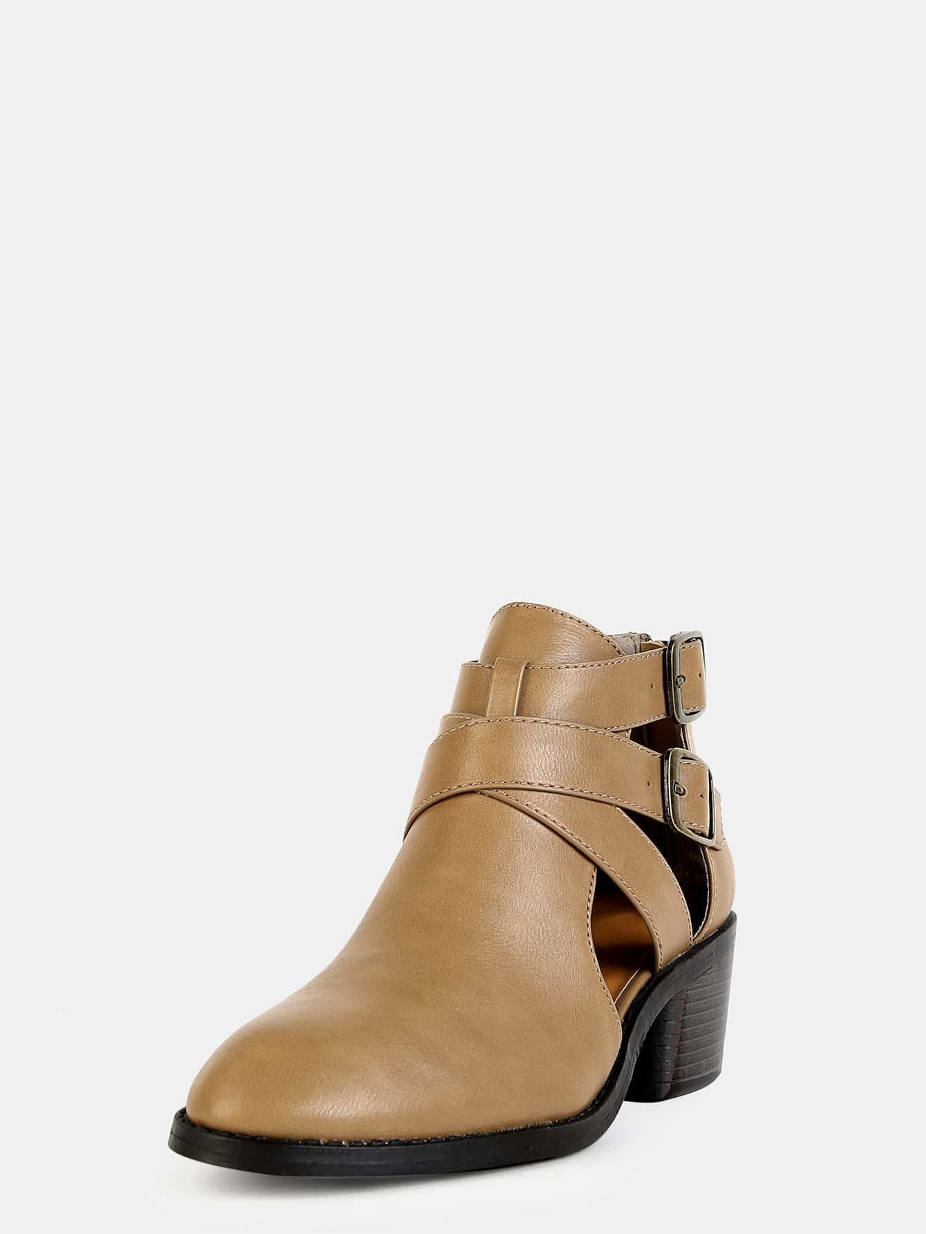 chunky heel cut out boots taupe shein sheinside