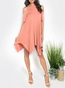 Pink Cut-out Sleeve Casual Shift Dress