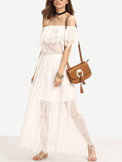 Beige Off The Shoulder Ruffle Lace Maxi Dress