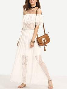Beige Off The Shoulder Ruffle Lace Maxi Dress
