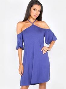 Flutter Sleeve T-Shirt Dress BLUE