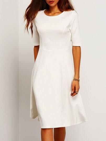 White Half Sleeve A Line Dress -SheIn(Sheinside)