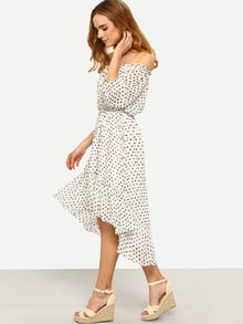 Elasticized Off Shoulder Frill Dip Hem Dress With Drawstring Waist