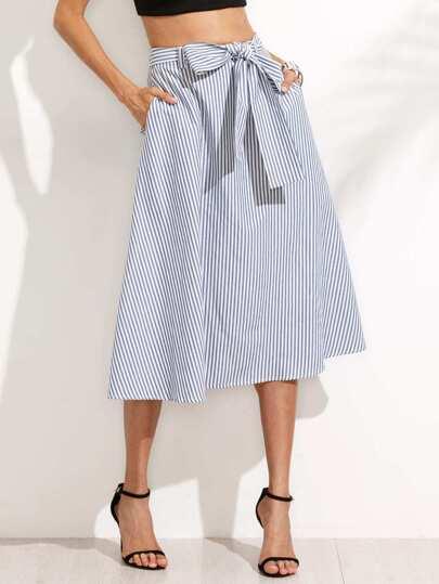 Jupe mi-longue à rayures avec nœud papillon - bleu