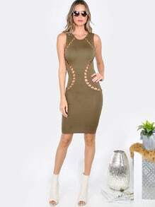Mesh Back Cut Out Dress OLIVE
