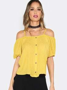 Cold Shoulder Top MUSTARD