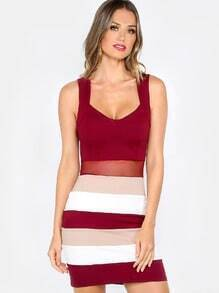 Color Block Bodycon Dress BURGUNDY