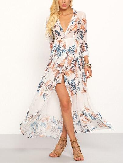 Flower Print Chiffon Long Shirt Dress - White