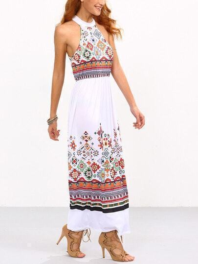 Halter Geometric Print Beach Dress