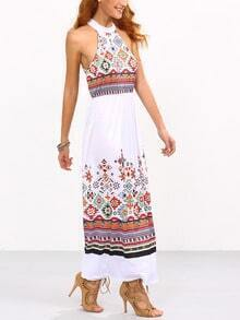 Halter Geometric Print Beach Dress