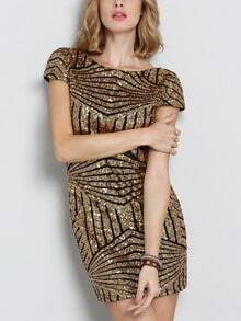 Cap Sleeve Backless Sequined Dress
