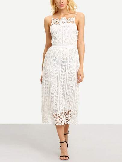 Hollow Out Lace Cami Dress - White