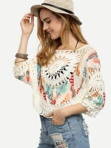 Crochet Insert Hollow Out Print Blouse