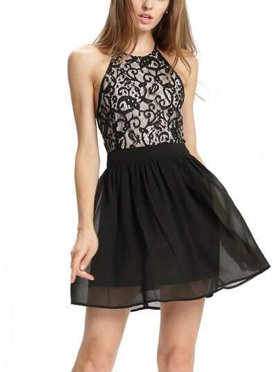 Black Spaghetti Strap Backless Lace Crochet Mini Dress