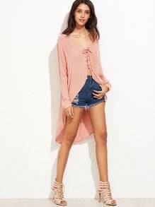 Pink Lace-up V Neck High Low Blouse