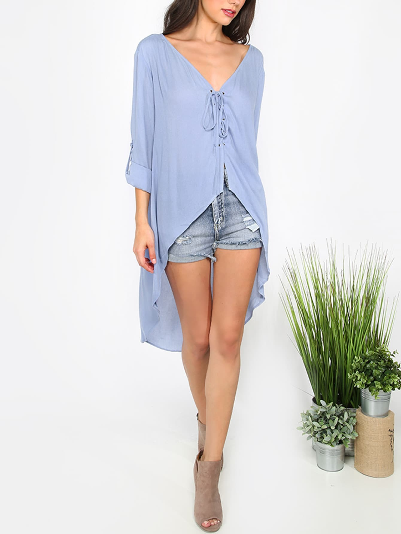 Buy Blue Lace-up V Neck High Low Blouse