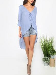 Blue Lace-up V Neck High Low Blouse