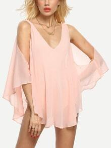 Pink V Neck Cold Shoulder Backless Blouse