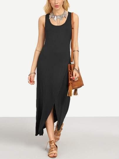 Black Wrap Racerback Tank Dress