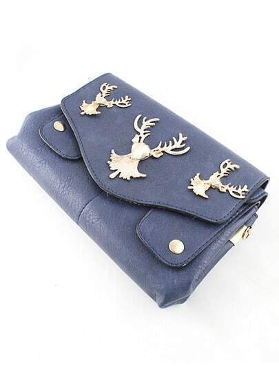 Blue PU Leather Golden Deer Clutch Bag