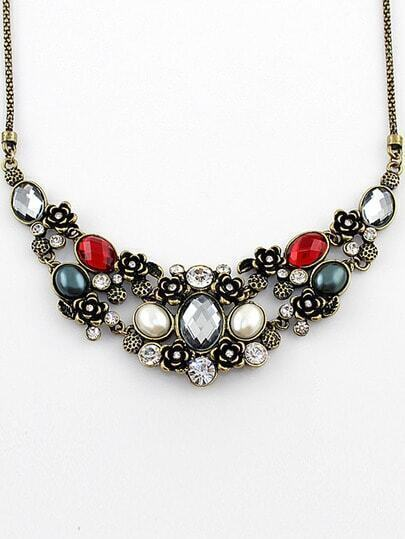 Red White Gemstone Flowers Necklace