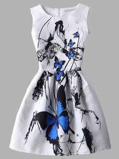 White Butterfly Print Fit and Flare Jacquard Dress