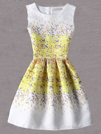 Yellow Flower Print Fit and Flare Jacquard Dress