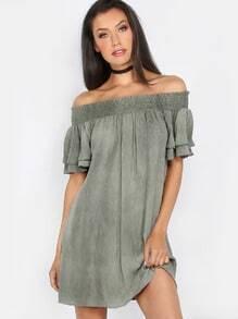 Off the Shoulder Crepe Dress OLIVE
