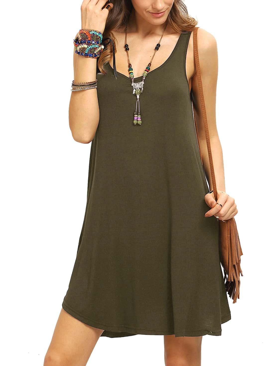 Фото Army Green Swing Tank Dress. Купить с доставкой