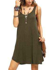 Army Green Swing Tank Dress