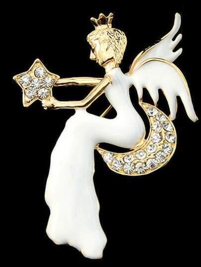 broche diamant ange -blanc doré