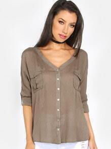 Criss Cross Back Button Down Blouse OLIVE