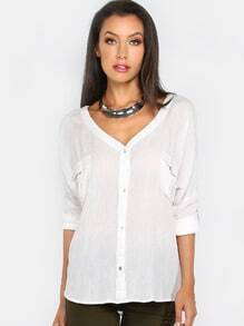 Rolled Sleeve Lace Up Blouse IVORY