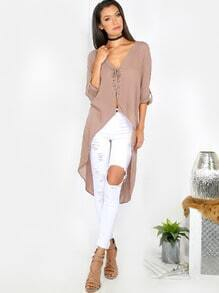 Lace Up High Low Blouse MOCHA