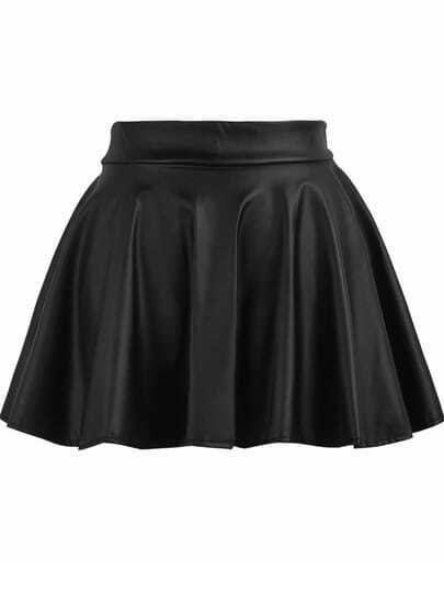 Elastic Waist Flare PU Leather Skirt