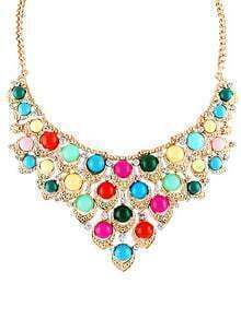 Multicolor Drop Gemstone Gold Collar Necklace