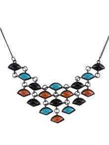 Multi Gemstone Black Chain Necklace