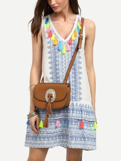 Multicolor Tassel Print V Neck Sleeveless Dress