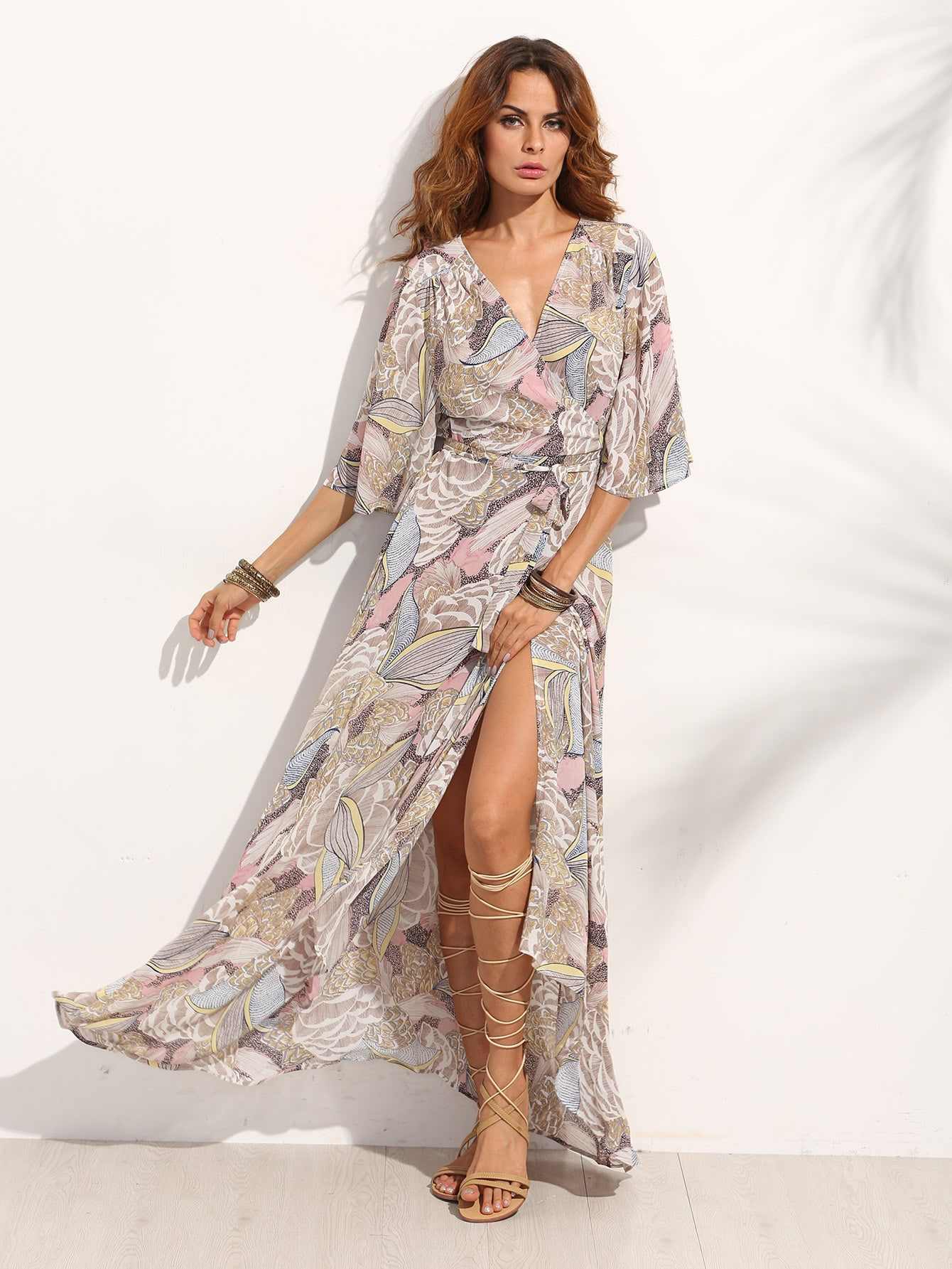 Multicolor Wrap Front Maxi Dress