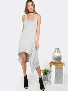 Flowy Hi Lo Tank Dress HEATHER GREY