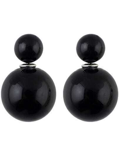 Black Bead Stud Earrings