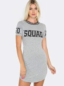 Short Sleeve Fitted Jersey Dress GREY