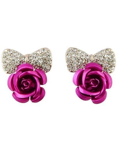 Red Rose Diamond Bow Stud Earrings
