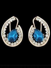 Blue Gemstone Gold Stud Earrings