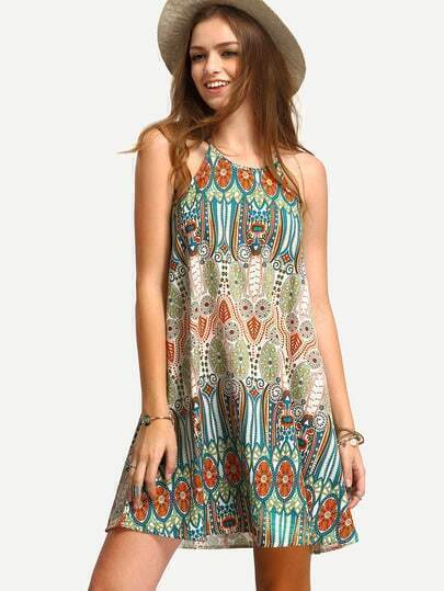 Multicolor Sleeveless Vintage Print Shift Dress