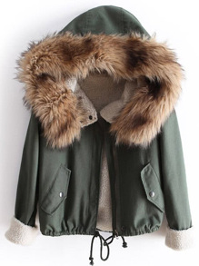 معطف هودي أخضر فرو كم طويل