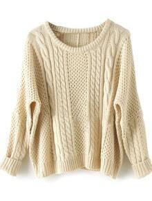 Apricot Batwing Long Sleeve Supersoft Pullovers Sweater -SheIn(Sheinside)